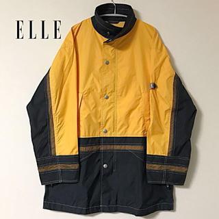 エル(ELLE)の90s ELLE HOMME ナイロンジャケット メッシュ 切り返し 黄色 黒(ナイロンジャケット)