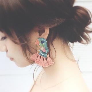 ビジュー♡小鳥タッセル(ピアス)