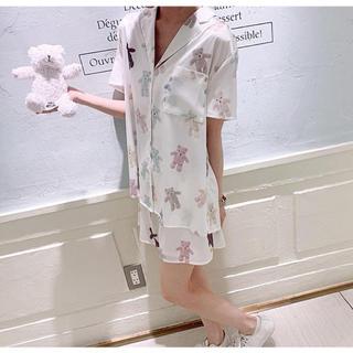 ジェラートピケ(gelato pique)のジェラートピケ新品テディベアサテンシャツ&ショートパンツセット☆ホワイト(パジャマ)