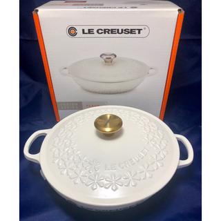 ルクルーゼ(LE CREUSET)のルクルーゼ シグニチャー マルミット フラワーレリーフ ゴールド(鍋/フライパン)