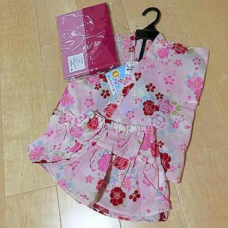 西松屋 - 新品・未使用 浴衣ドレスへこ帯セット(スカート)100+おまけつき