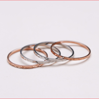 【新品】キラキラ華奢リング・SV925/刻印☆ピンクゴールド(リング(指輪))