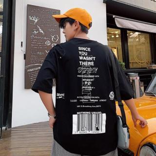 バーコード Tシャツ バックプリント ビッグシルエット韓国ファッションブラック