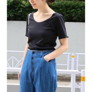 イエナ(IENA)のIENA  リップルボーダーUネックプルオーバー  ブラック(Tシャツ(半袖/袖なし))
