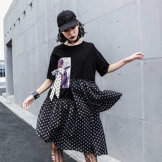 Tシャツワンピ レディース夏半袖 新品シフォン 人気TG52510(ひざ丈ワンピース)