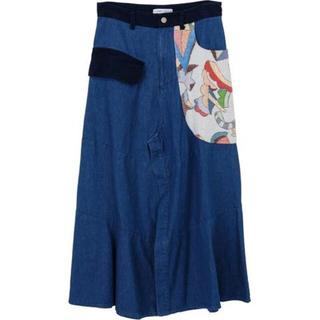ツモリチサト(TSUMORI CHISATO)のももじり様専用 ツモリチサト デニム ドッキング スカート(ロングスカート)