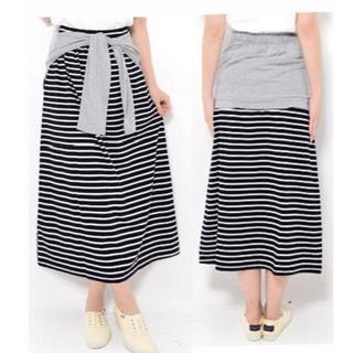 新品★3L(大きいサイズ)グレー腰巻風Xボーダースカート(ロングスカート)
