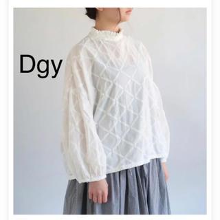 Dgy スタンドカラー ギャザー  ブラウス 刺繍 大きいサイズ(シャツ/ブラウス(長袖/七分))