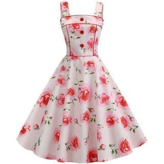 新品大きいサイズ3L 可愛い薔薇柄ドレスワンピース 淡いピンク (ひざ丈ワンピース)