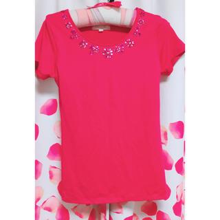 EmiriaWiz - エミリアウィズ ピンク フリーサイズ 美品 フラワー ビジュー 可愛い Tシャツ