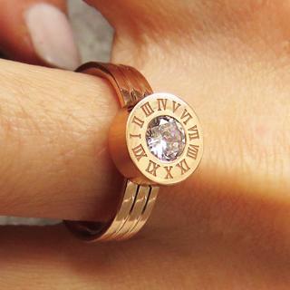 リング 指輪 ローマ数字 ストーン ステンレス ピンクゴールド レディース(リング(指輪))