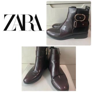 ザラ(ZARA)のZARA ワインブラウンレザー  ショートブーツ(ブーツ)