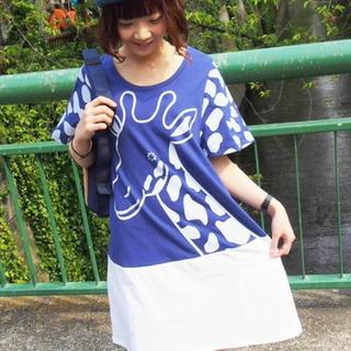 フラボア(FRAPBOIS)の☆新品未使用☆フラボア/FRAPBOIS キリンプリントチュニックTシャツ(ひざ丈ワンピース)