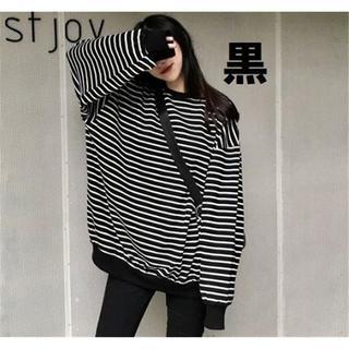 送料無料 韓国で人気 オーバーサイズ トップス ボーダー ロングTシャツ 薄手