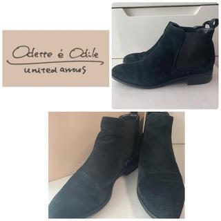 オデットエオディール(Odette e Odile)のユナイテッドアローズ ブラックスエード  ショートブーツ(ブーツ)