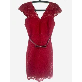 dazzy store - キャバ ドレス ワンピ レッド レース リボン 袖付き パット付き