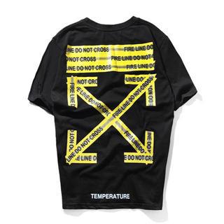 OFF-WHITE - OFF WHITE オフホワイト Tシャツ 黒 半袖 警告デザイン サイズXL