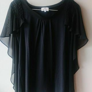 ランバンオンブルー(LANVIN en Bleu)のランバンオンブルー LANVIN en Bleu シフォントップス 黒 (Tシャツ(半袖/袖なし))