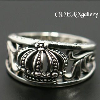 送料無料 11号 シルバークラウン王冠リング 指輪 唐草模様 クラッシック(リング(指輪))