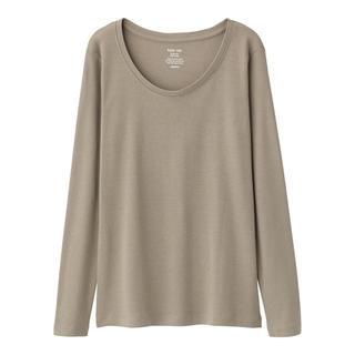 ジーユー(GU)の新品タグ付き Mオリーブ 長袖クルーネックTシャツ 綿100% 匿名配送(Tシャツ(長袖/七分))