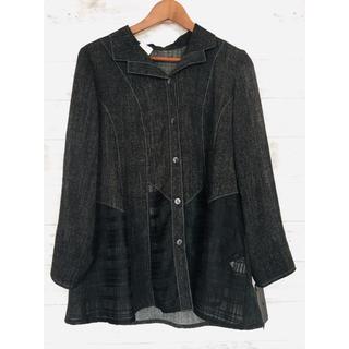 新品 格安!上品ジャケットゆったりサイズグレーブラックLL大きいサイズレディース(その他)