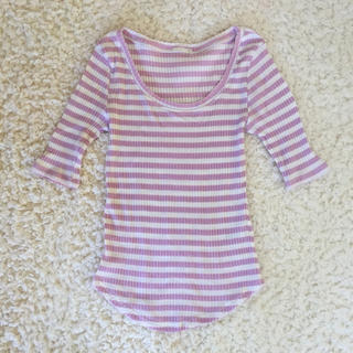 GU - 【GU】リブクルーネックTシャツ 五分袖