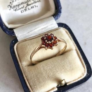 アンティーク ガーネット 9CT リング 指輪 イギリス ホールマーク入り(リング(指輪))