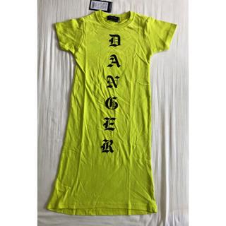 【新品タグ付】キッズTシャツワンピース 110 ロング シンプル ロゴ(ワンピース)