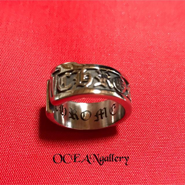 送料無料 24号 シルバー サージカルステンレス スクロール ラベル リング指輪 メンズのアクセサリー(リング(指輪))の商品写真
