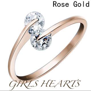 送料無料ピンクゴールドスーパーCZダイヤモンドデザイナーズジュエリーリング指輪(リング(指輪))