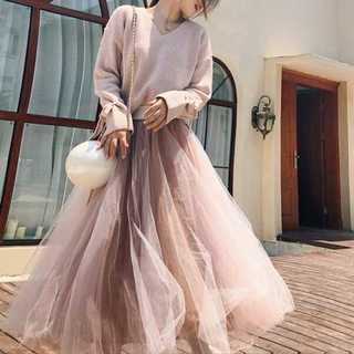 ★2カラー★ 袖リボン ニット シフォン ロングスカート セットアップ ガーリー