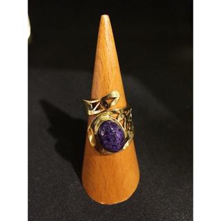 天然石ブラスリング★アジアン★エスニック★ヒッピー★紫色★真鍮(リング(指輪))