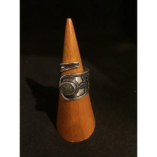 天然石ブラスリング★ラブラドライト★アジアン★エスニック★真鍮(リング(指輪))