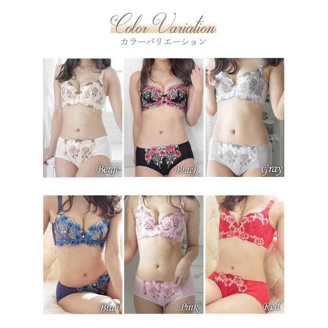 美バストメイク☆ブラ&ショーツセット レッド レディースの下着/アンダーウェア(ブラ&ショーツセット)の商品写真