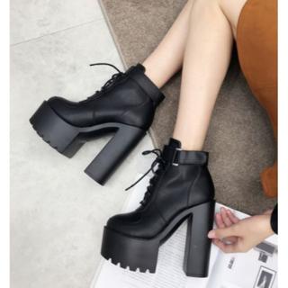レディースファッションハイヒール、レースアップ 厚底 ショートブーツ サイズ (ブーツ)