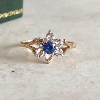 アンティーク ヴァイオレット サファイアリング 指輪 イギリス ホールマーク入り(リング(指輪))