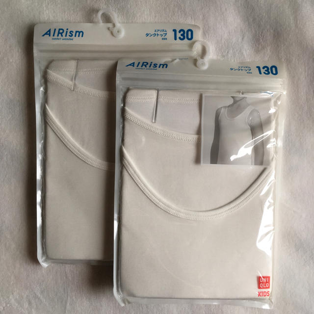 UNIQLO(ユニクロ)のエアリズム 白タンクトップ 130cm キッズ/ベビー/マタニティのキッズ服 男の子用(90cm~)(下着)の商品写真