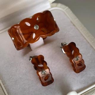 デザインリング&ピアス セットBR(リング(指輪))