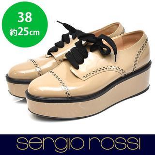 セルジオロッシ(Sergio Rossi)のセルジオロッシ エナメル プラットフォームシューズ 38(約25cm)(ローファー/革靴)