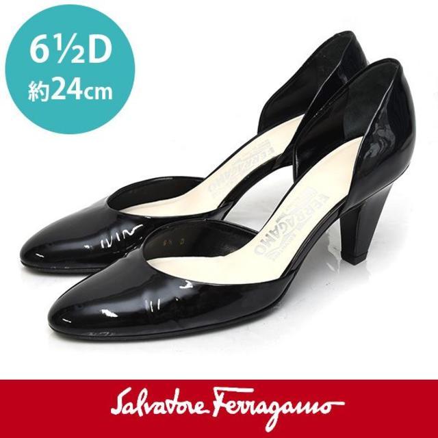 Salvatore Ferragamo(サルヴァトーレフェラガモ)のほぼ新品❤️サルヴァトーレフェラガモ エナメル パンプス 6 1/2D(約24c レディースの靴/シューズ(ハイヒール/パンプス)の商品写真