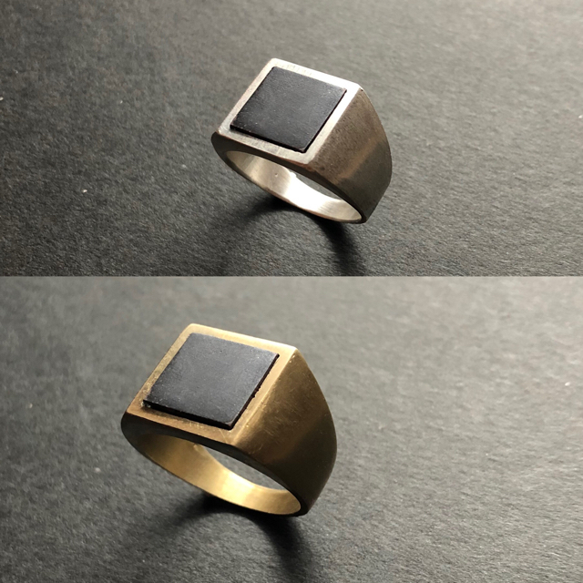 Maison Martin Margiela(マルタンマルジェラ)の▪︎Uimp▪︎ gold signetring スクエアリング メンズリング メンズのアクセサリー(リング(指輪))の商品写真