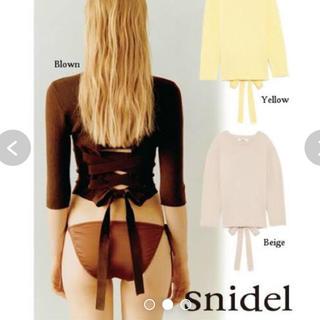 snidel - 新品  リブバックリボントップス
