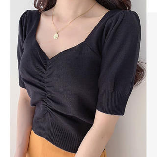 スナイデル(snidel)の【予約販売】パフスリーブギャザーニット♥4color(Tシャツ(半袖/袖なし))