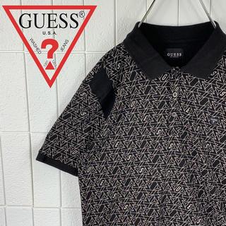 ゲス(GUESS)のあさん 専用 ゲスゆるだぼ 90s 総柄 プリントロゴ 半袖 ポロシャツ 可愛い(ポロシャツ)