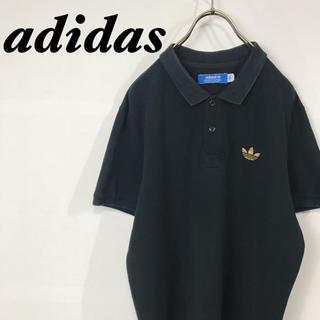 adidas - 古着 adidas トレフォイル ゴールド刺繍ロゴ ポロシャツ ブラック