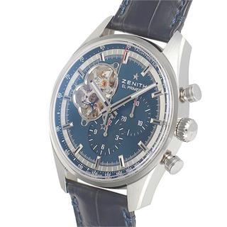 ゼニス(ZENITH)のゼニス エルプリメロ クロノマスター  送料無料 ブルー 皮ベルト クロノグラフ(腕時計(アナログ))