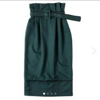 エイミーイストワール(eimy istoire)のエイミーイストワール バイカラーベルトスカート グリーン 緑 S(ひざ丈スカート)
