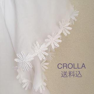 アクアガール(aquagirl)の送料込☆aquagirl CROLLAのフラワーブラウス38☆ホワイト(シャツ/ブラウス(半袖/袖なし))