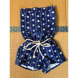 anap mimpi - ブルー×花柄、ベアトップ型サロペット、チューブトップ型サロペット