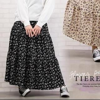 クレット(clette)のクレット 大きいサイズ 小花柄ティアードスカート(ロングスカート)